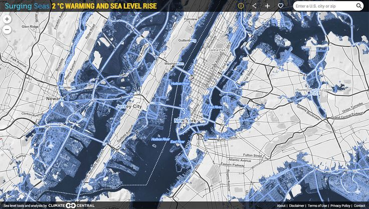 Climate Central Has Created An Interactive Zip Searchable Map Of The U S To Show The 20 Ft Of Sea Level Rise That Would Be Locked In By 20c 3 60