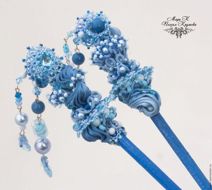 """Купить Палочки для волос """"Рождение Киприды"""" шпильки анкарс фриволите, голубой - палочки для волос"""