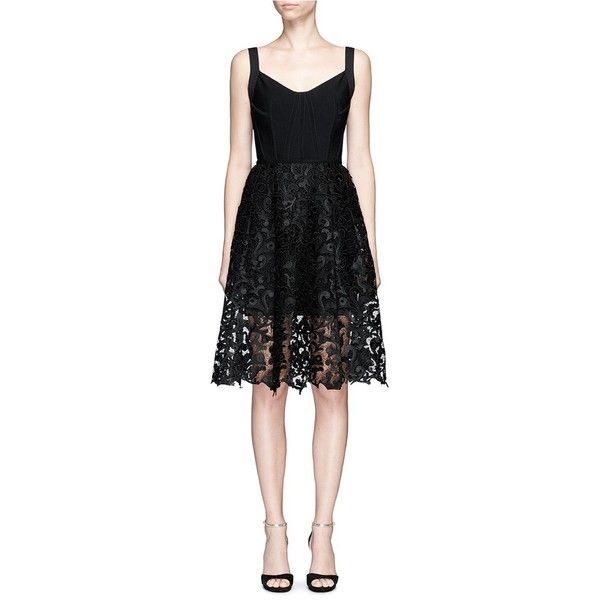 Oscar De La Renta Baroque guipure lace skirt overlay corset dress ($5,010) ❤ liked on Polyvore featuring dresses, black, body con dresses, lace dress, stretch lace dress, lace corset dress and little black dress