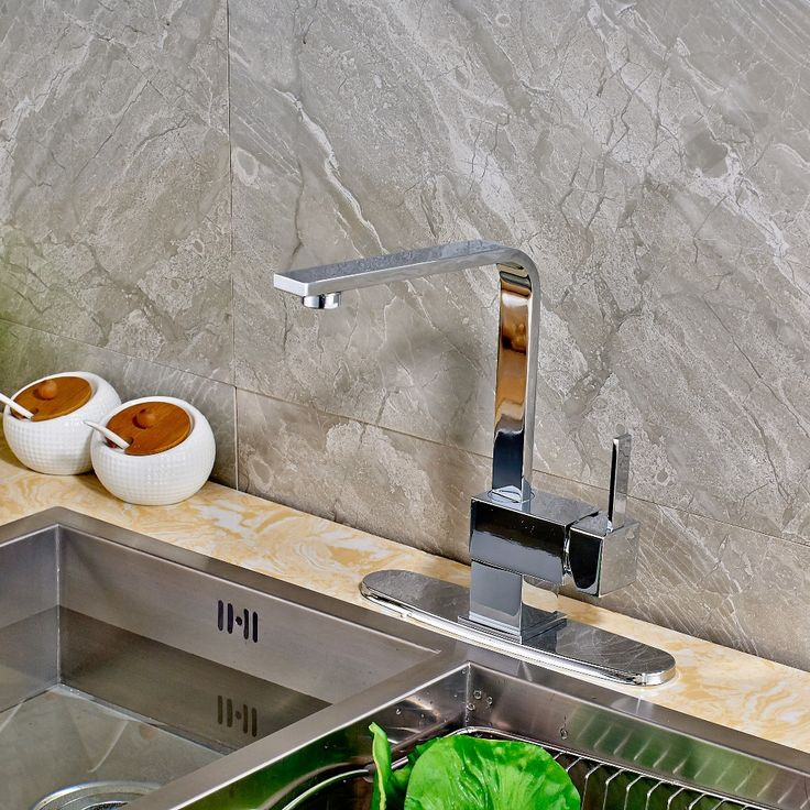 68.25$  Watch here - Newly Style Deck Mounted Polish Chrome Kitchen Faucet Mixer Tap Single Handle Single Hole Swivel Mixer Round Cover  #aliexpresschina