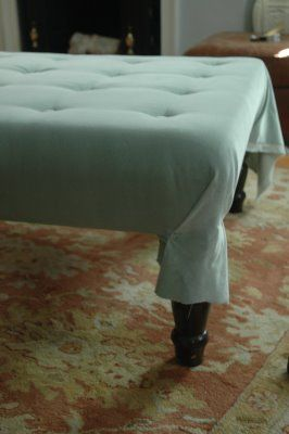 tufted ottoman DIY... i might have to try this!Diy Upholstered, Coffee Tables, Upholstered Ottoman, Diy Ottoman, End Tables, Diy Coffe Tables Ottoman, Tufted Ottoman, Little Green Notebooks, Crafts