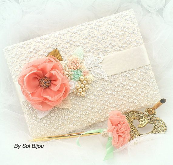 Wedding Guest Book Pen Set Signature Book Large in Ivory, White, Coral, Gold and Mint Green with Lace, Pearls and Handmade Flowers on Etsy, $140.00
