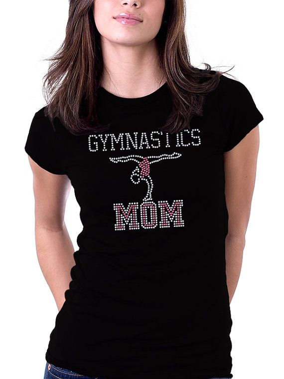 Gymnastics Mom Rhinestone Shirt Pink Rhinestones by RascoPrints, $18.99