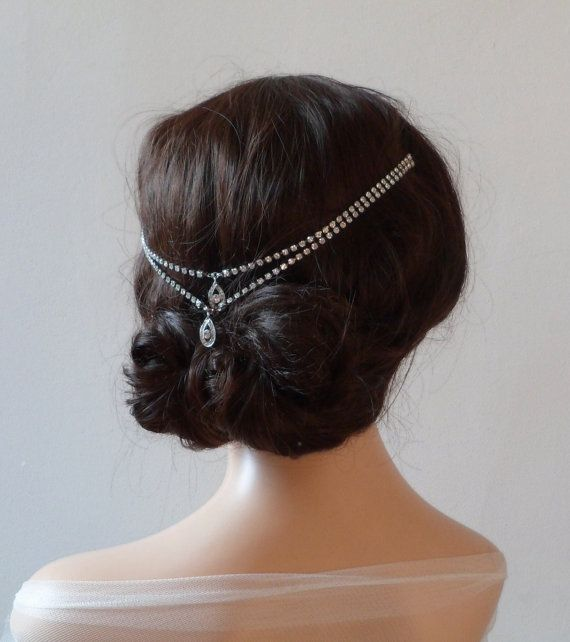 1920s wedding Headpiece - Bohemian, headchain style Bridal Accessory - Great Gatsby Headpiece - crystal bun accessory on Etsy, £58.00