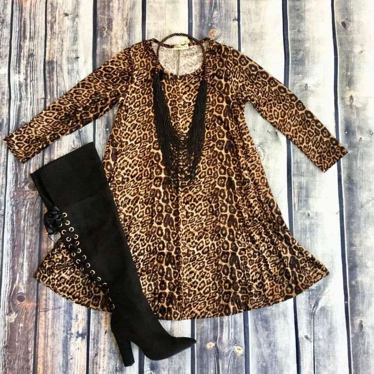 Brown Leopard Velvet Tunic Dress with Pockets