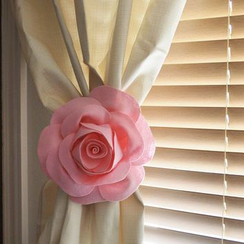 One Rose Flower Curtain Tie Backs Curtain Tiebacks Curtain Holdback -Drapery Tieback-Baby Nursery Decor-Light Pink Decor