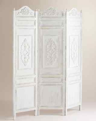 Victorian White Room Divider Screen Shabby Chic 3 Panel French Country could add decorative scrollwork to closet doors or heart wreaths from ribbon or roses