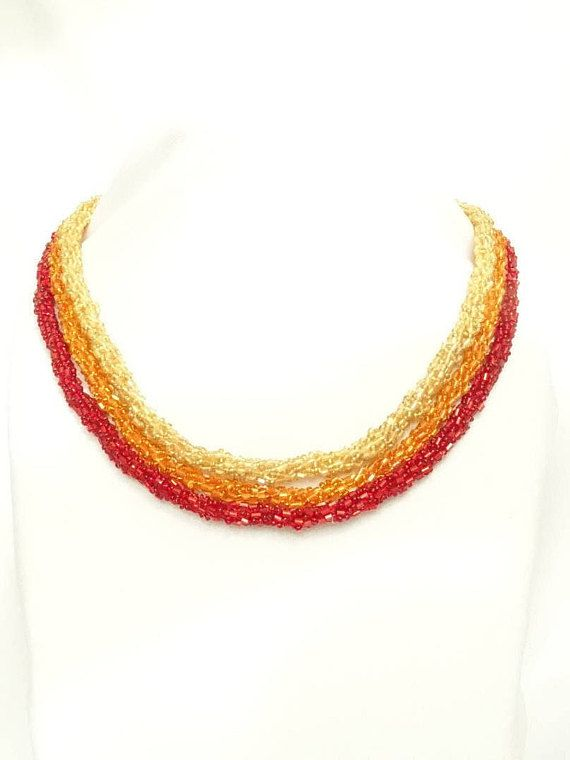 This necklace is part of the Memet Fire Collection. The Memet Jewelrys philosophy is to show your Souls beauty, in this case its Fire - through the Jewelries of this Collection. There are quite a few options to combine the different elenets of the Collection. Please visite the other items too to see different combinations. Price referes to ONE necklace.  Characteristics of the necklece are: - made of beads - the technique used is: Turkish Crocheted - for everyday wear or special occasions…
