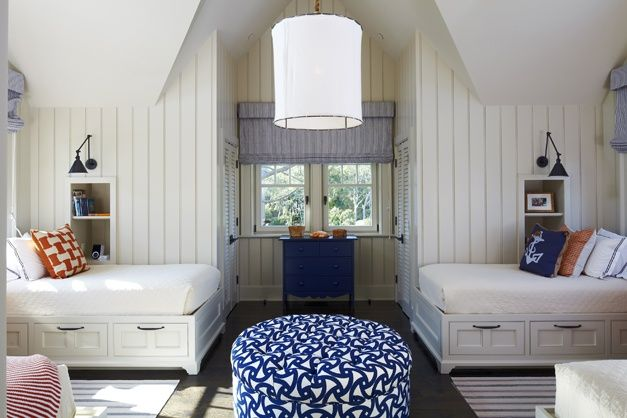little Boys Room. shared room. love the built-in beds with storage drawers underneath.