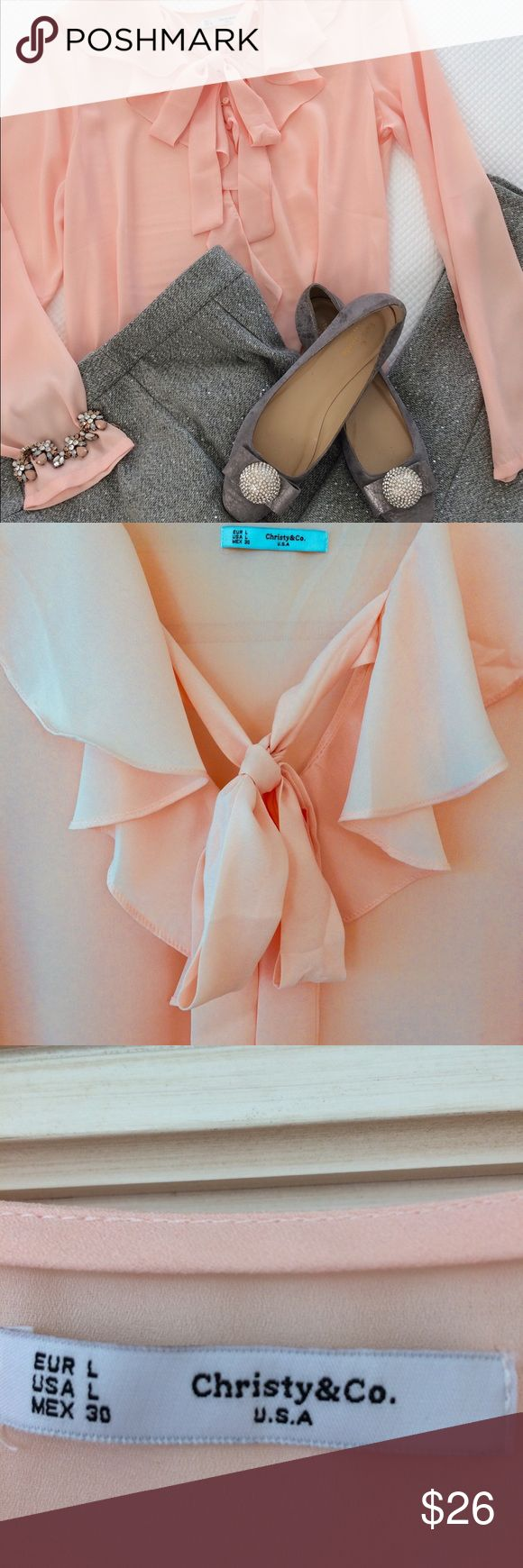 Ruffle tie neckline peach blouse This lovely feminine soft peach blouse will make any lady feel feminine. It's soft chiffon fabric drapes beautifully. It is longer in the back and can be worn out and flowing or tucked in. Beautiful with skirts or pants. Brand new never worn. Tops Blouses
