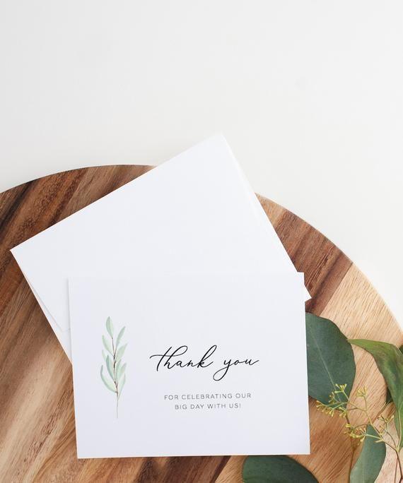 Printable Watercolor Greenery Thank You Card Wedding Gift Etsy Wedding Gift Cards Wedding Cards Custom Wedding Stationary