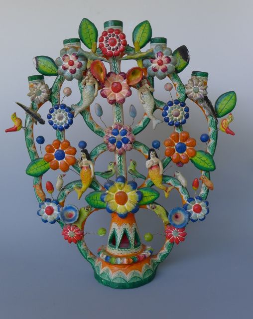 Vintage Mexican Sirenas tree of life from Puebla attributed to Heriberto Castillo