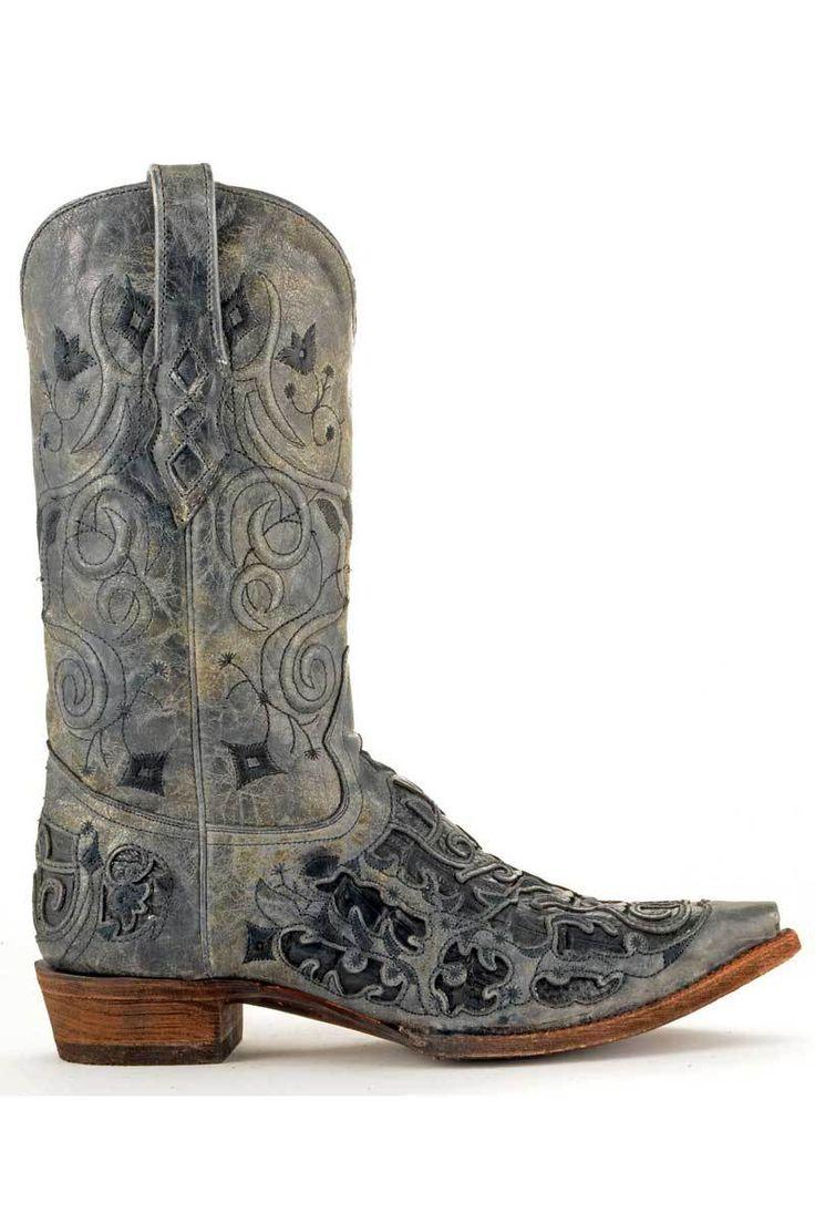 Corral Boots Men's Vintage Black Caiman Croc Inlay Cowboy Boots | Men's  Boots