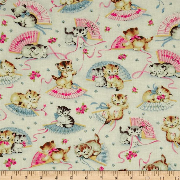Michael Miller Smiten Kittens Cream from @fabricdotcom  From Michael Miller, this cotton print is perfect for quilting, apparel and home decor accents.  Colors include cream, grey, tan, white, pink, green and blue.