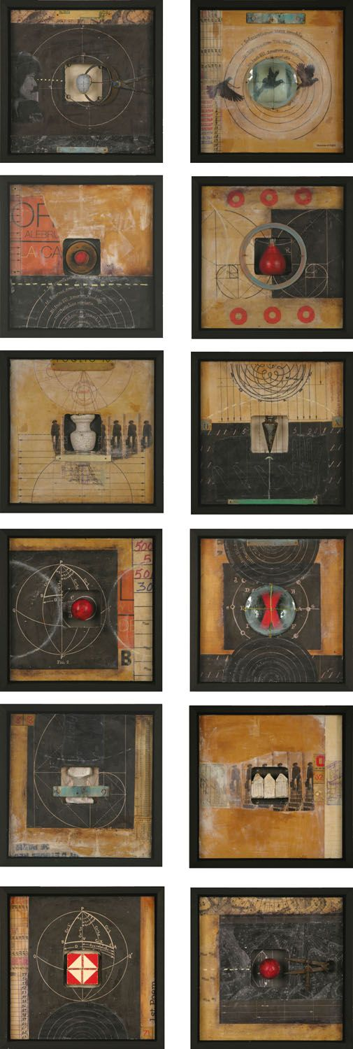 """GraceAnn Warn. Distance + Observation series, 2012   11 """" x 11 """" x 2 """" each   Mixed media assemblages on wood panels, framed"""