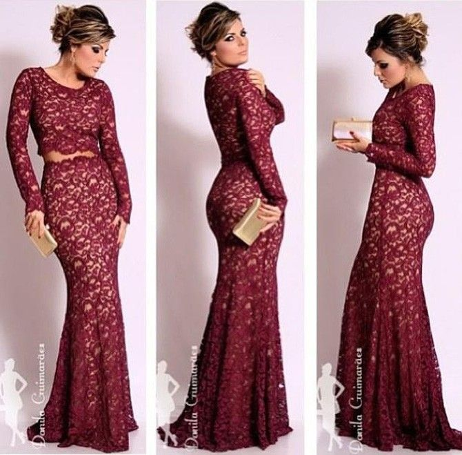 Free Shipping Vestidos De Renda Sexy Wine Red Lace Mermaid Evening Dresses With Long Sleeves Two Piece Prom Dresses Satin DY0910-in Evening ...