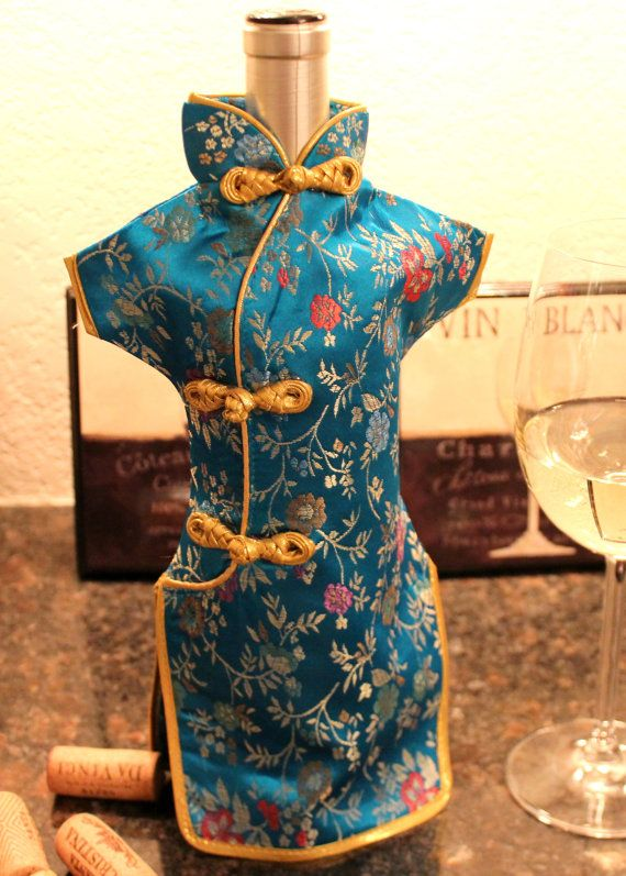 Chinese Dress Wine Bottles Cover by DeliBejeweled on Etsy, $7.99