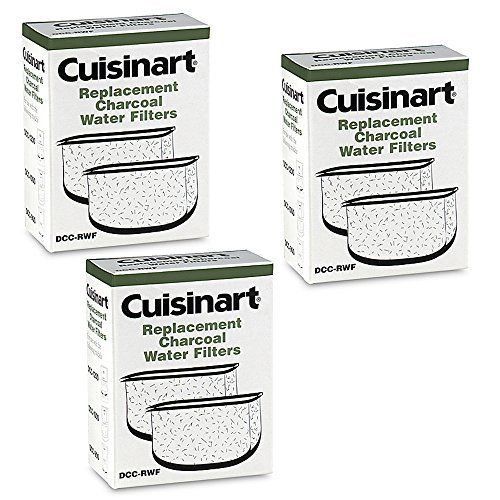 Cuisinart DCC-RWF *Triple Pack* Charcoal Water Filters in Cuisinart DCC-RWF Retail Box - Make sure you're brewing the best with this pack of six Cuisinart replacement water filters. These filters are for use with all Cuisinart water filter holders. They remove chlorine, odors, calcium and other water impurities prior to brewing your favorite coffee. The simple-to-install design makes...