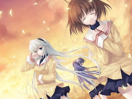 Clannad, an English PC visual novel, that features Tomoya Okazaki, a high school senior who is also a delinquent as the main character.