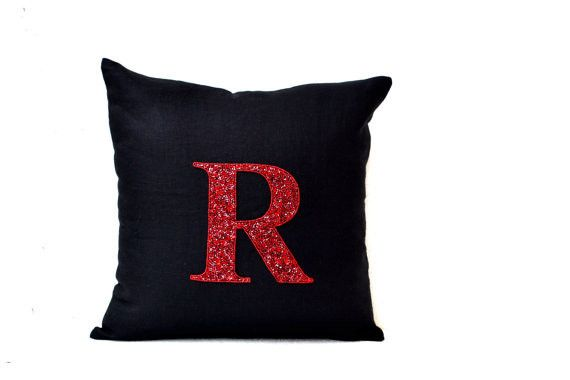 Sequin Monogram Decorative Throw Pillow Personalized Custom Monogrammed Linen Cushion