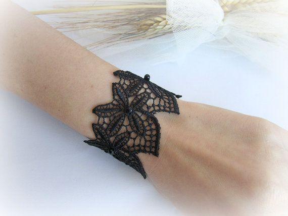 Black lace cuff bracelet floral lace bracelet by MalinaCapricciosa