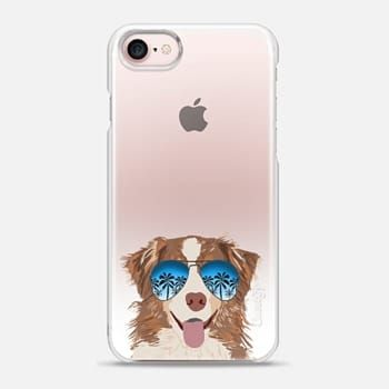 iPhone Case -  Australian Shepherd red merle summer sunglasses clear case ombre pet portrait dog breed dogs