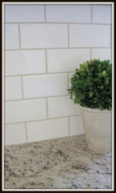 I'm thinking white subway tile with grey or tan grout for my kitchen backsplash. | Home Improvement  | White Subway Tiles, Grout and Subway Tiles