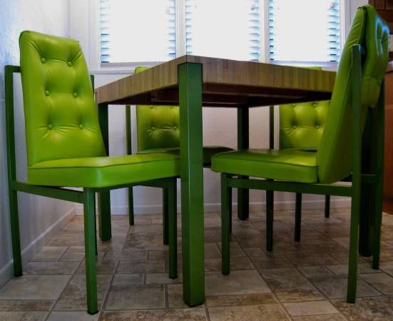 Vintage Mid Seventies Retro Lime Green Dining Set Leatherette Upholstery Me