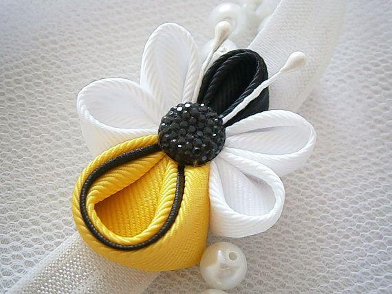 Hecho a mano bebé niño girl elástica venda elástica banda de cabello, flores de tela Kanzashi, Bumble bee, prop de recién nacidos regalo presente foto shoot