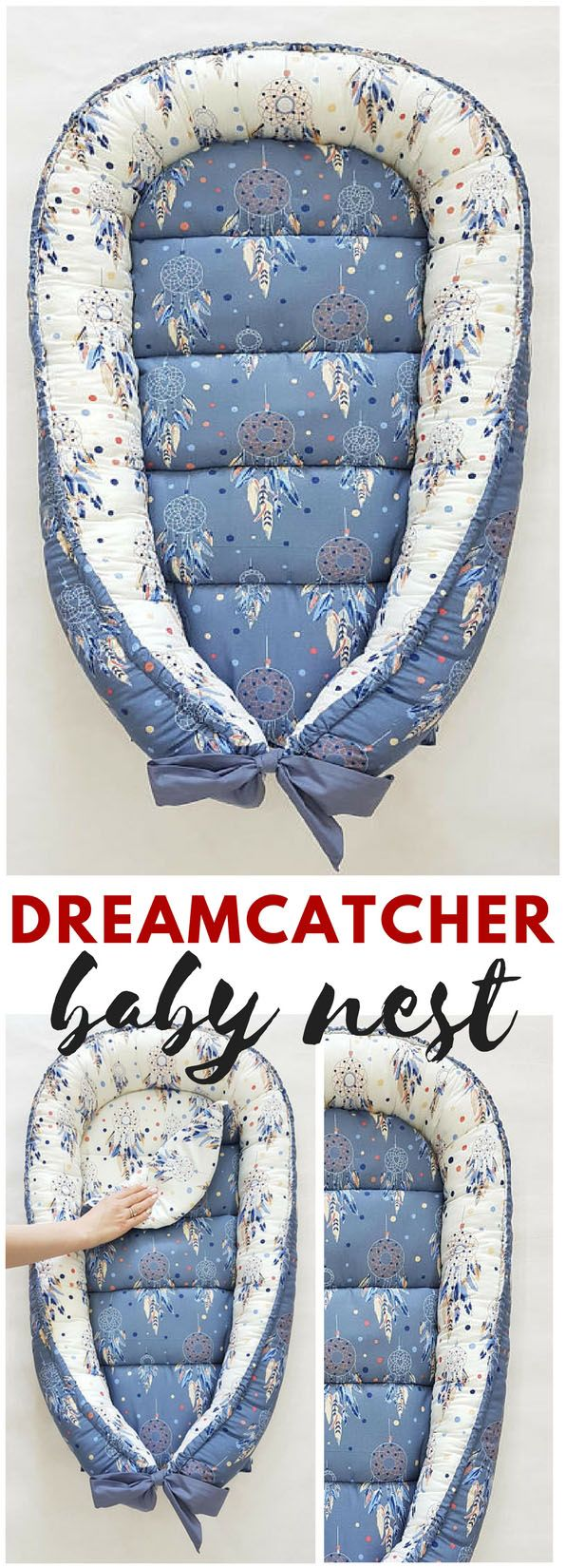 This must be the most precious baby nest I've ever seen. Love the dreamcatcher! Perfect gender neutral baby nest, great for either baby boy or baby girl.#babynest #babyboho #dreamcatcher #bohobabynest #affiliate #babylounger #newborngift