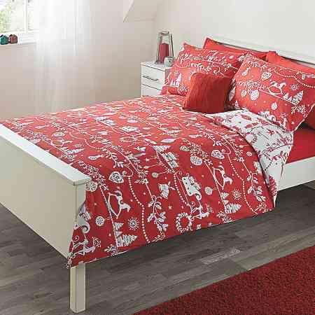 George Home Red Christmas Print Duvet Range Bedding