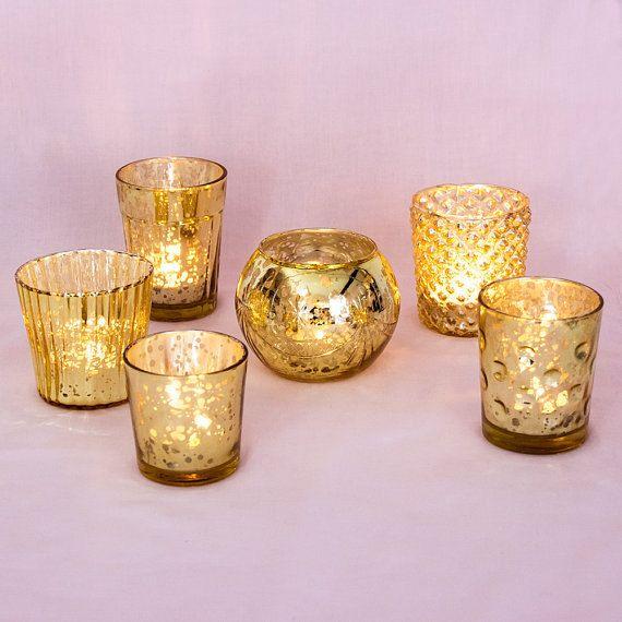 Ensemble de Six 6 Mercure Antique verre votif bougeroir argent assortiment or ans mariage anniversaire Bridal Shower Party décor