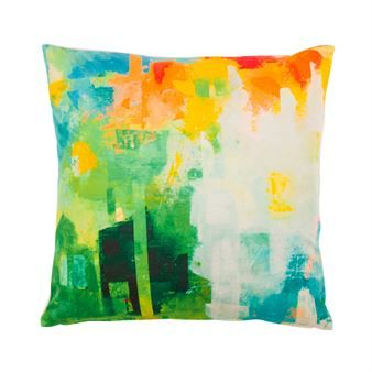 Tropic cushion cover from Dixie is a color explosion for your sofa! The lovely abstract pattern is designed by the Swedish artist Maria C Bernhardsson and is available in several color ways with white backside. A wonderful interior detail that spices up your living room!