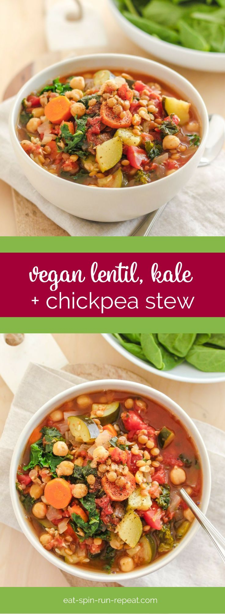 Vegan Lentil, Kale and Chickpea Stew - a great lunch or dinner recipe in the colder months that can be made in big batches and frozen, or enjoyed straight out of the pot! Gluten free and high in protein.