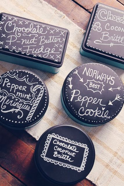 Paint over holiday tins with chalkboard paint, then put chalkboard labels and chalk inside to store or give as gifts!