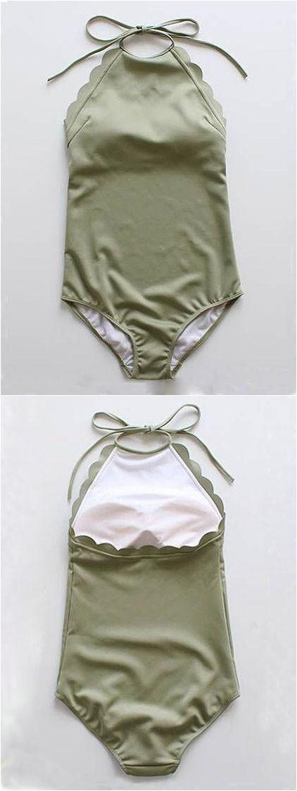 Army Green Halter Low Back Scallop Trim Swimsuit Nail Design, Nail Art, Nail Salon, Irvine, Newport Beach