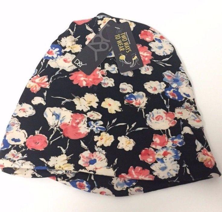 Knit Flower Beanie Women's Winter Ear Warmer Headwrap Warm Skull Ski Hat, Black