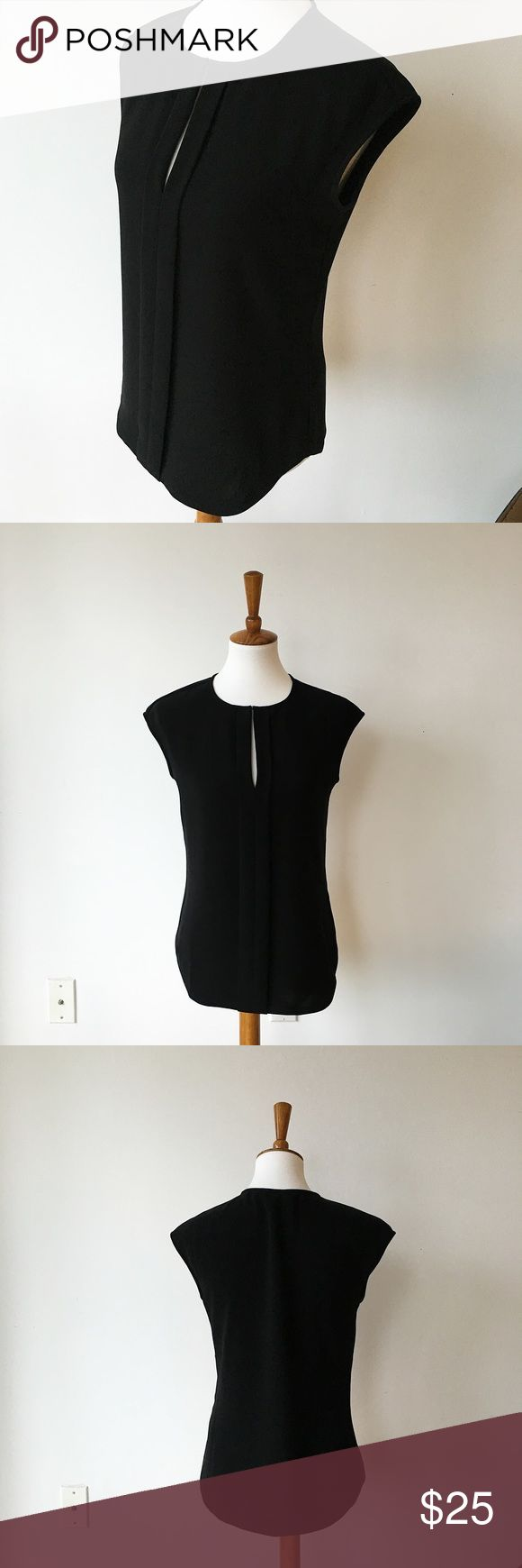 J Crew Black Capped Sleeve Top with Front Slit Classic J Crew top that is perfect for the office. Great weight to it so it keeps this shape and is super profesh. J. Crew Tops