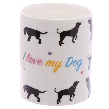 Kubek z porcelany kostnej - I love my dog www.threewisheshome.pl