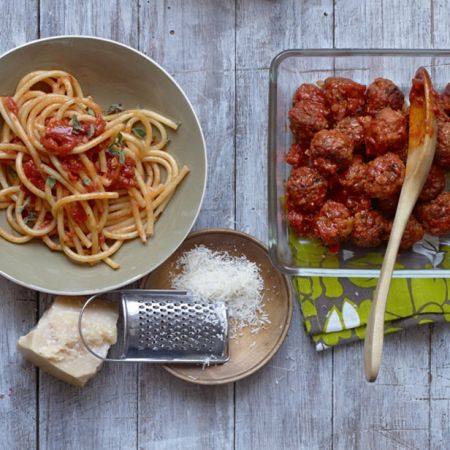 Gordon Ramsay's Italian meatballs  Rich, tomato-y and gorgeous - just swirl into spaghetti  See redonline for full recipe