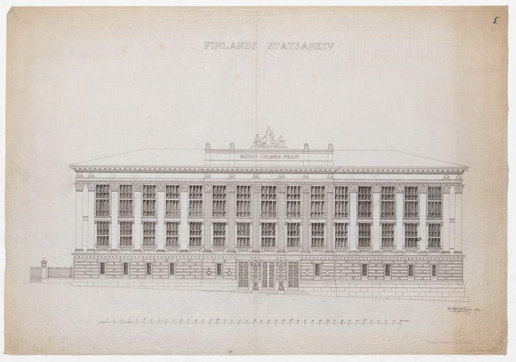 Gustaf Nyströmin laatima Valtionarkiston (nykyisin Kansallisarkiston) rakennuspiirustus vuodelta 1887.  Kuva digiarkistossa: digi.narc.fi/digi/view.ka?kuid=6908688