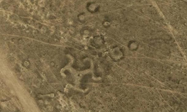 Swastika geoglyph in Kazakhstan.