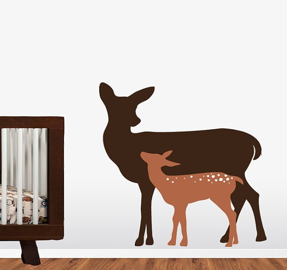 Deer sillouette wall decal kids children wall decal deer for Deer mural decal