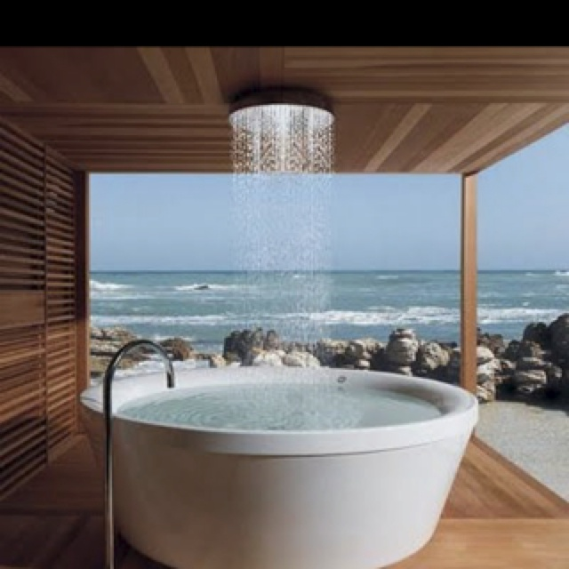 Outdoor SpaRain Shower, Beach House, Shower Head, Dreams, Outdoor Shower, The View, Bathtubs, Outdoor Bath, Hot Tubs