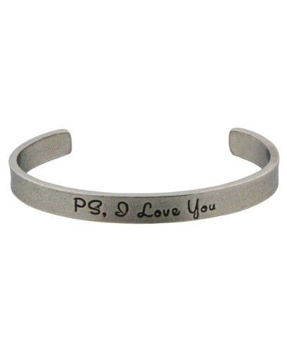 Inspirational Jewelry: PS, I Love You Bracelet (USA) Buddha Groove. $16.99. Made of lead-free pewter. Measures 0.25 inches wide. Inspirational cuff bracelet. Silver color with black lettering. Open end fits most wrist sizes, Made in USA