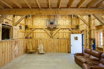 basketball hoop inside garage backyard exterior