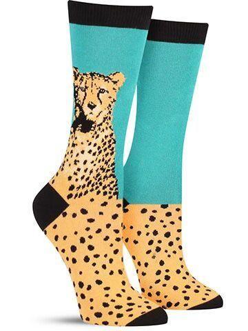 Bamboo Cheetah Foot Socks Soft Teal