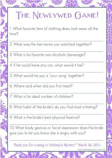 Almost newlywed game questions for bridal shower