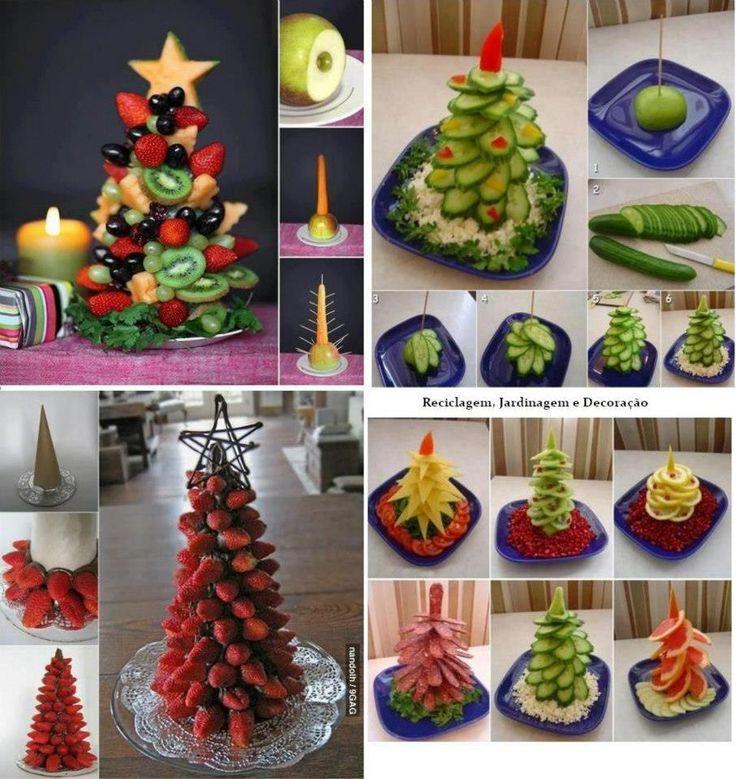ingeniosa idea para hacer pinos navideos con frutas o verduras decoran y son una