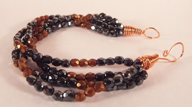 ONLY 1 IN STOCK - Black and copper bracelet - stacking bracelet - greek bracelet - ancient bracelet by Dionysusgroove on Etsy
